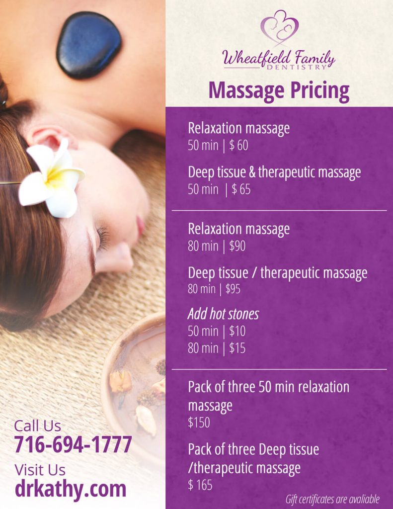massage pricing